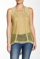 Aratta Womens S Fly Away Tank Top Sheer Lace Green Embroidered Boho Hippie NWT