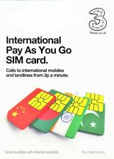 Three (3) International Pay As You Go a Multi SIM Card - Standard, Micro & Nano