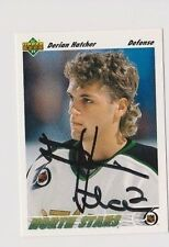 91/92 Upper Deck Derian Hatcher Minnesota North Stars Autographed Hockey Card