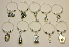 10 Wine Glass Charm Rings WINE LOVERS made with SWAROVSKI Crystal Party Wedding