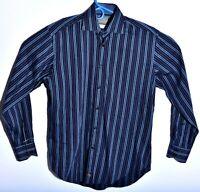 Thomas Dean Mens Size Medium Dress Shirt Dark Blue Stripe Long Sleeve Flip Cuff