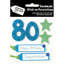 Age 80 Blue Green Happy Birthday MIP Greeting Card Toppers DIY Handmade Craft NE