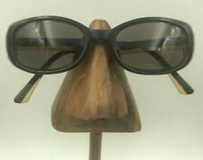 Vintage Norma Kamali 7506 Black Bark Oval Sunglasses Eyeglasses Frames Italy