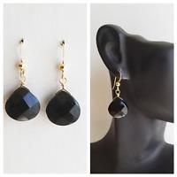 Onyx EARRINGS GEM STONE FACETED Briolette 14k GOLD FILLED DROP EARRINGS Onyx