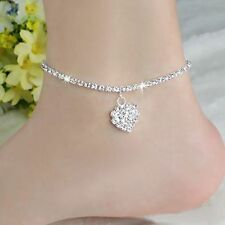 Fashion Womens Charm Crystal Heart Wedding Sandal Anklet Chain Foot Jewelry Hot