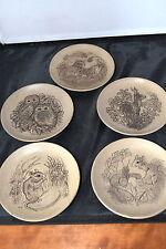 SET OF FIVE  BARBARA LINLEY POOLE WILDLIFE PLATES/ OWLS , MOUSE , DEER ETC #D