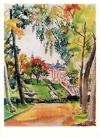 1973 RARE Russian postcard VIEW ON PALACE IN PETERHOF by P.Konchalovsky