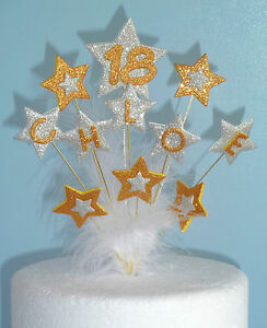 Gold & Silver Glitter Cake Topper ANY AGE & NAME 18th 21st 30th 40 50 60 70 more