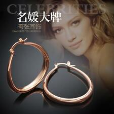 Rose Gold Plated Hammered Large Hoop Earrings Women Fashion Jewelry Pair DE