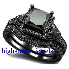 2.33 Ct Black Diamond Bridal Set 925 Silver Engagement Ring Free Shipping @@@