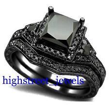 2.33 Ct Black Diamond Bridal Set 925 Silver Engagement Ring Free Shipping (TB)#!