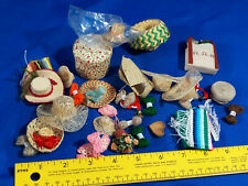HUGE LOT Miniature HATS Yarn Box Folk Art VTG Baby Doll Girl Woman Dollhouse