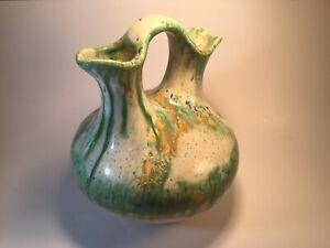 "Dual Double Two 2 Spout Ceramic 10"" Vase Jug Ewer Pitcher Green Yellow Blue"