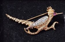 "14K Yellow Gold Diamond and Ruby  ""Road Runner"" bird brooch"