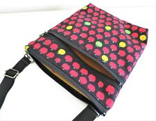 Apple black red Double zip Cross body/Messenger/light weight/adjustable strap