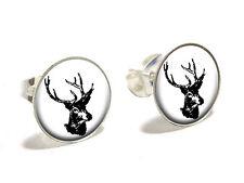 Deer Head - Buck - Deer Hunting Novelty Silver Plated Stud Earrings