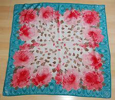 Rare VTG Mid Century Vera Neumann Silk Square Scarf Roses Petals Persian Arches