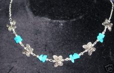 SIMPLE TURQOUISE & TIBETAN SILVER BUTTERFLY NECKLACE
