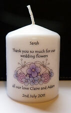 personalised thank you for our wedding flowers candle gift favour present
