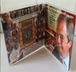 2020 Brexit  Coin + Card - Farage - Boris  *Father's Day / Birthday Card Present