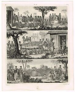 ORIGINAL ANTIQUE PRINT VINTAGE 1851 ENGRAVING AFRICA AFRICAN PEOPLES AND TRIBES