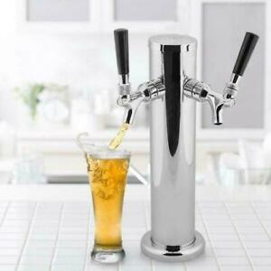 Double-headed 2 Tap Stainless Draft Beer Tower Dual Chrome Faucet Homebrew GF