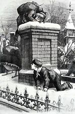 Thomas Nast BOYS SPYING on SANTA CLAUS 1876 CHRISTMAS CHIMNEY Matted Engraving