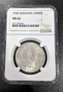 1946 MS62 Silver 25000 Lei Romania UNC NGC KM 70 Mihai I Single Year Type