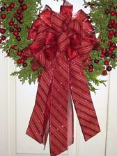 HANDMADE CHRISTMAS BOW BURGUNDY CANDY CANE WIRED RIBBON c # 16