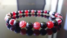 "Genuine TOURMALINE & FIRE AGATE bead bracelet for MEN WOMEN Stretch 6mm - 7.5"""