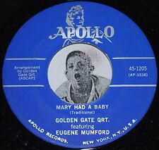 Gospel Xmas 45~GOLDEN GATE QUARTET~Mary Had A Baby / Rudolph~Apollo 1205 CLEAN
