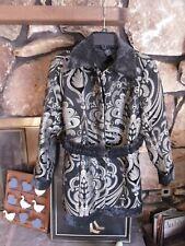 Sharif 1827 Couture Coat Women's Black/Beige Size L Geometric Design Made in USA