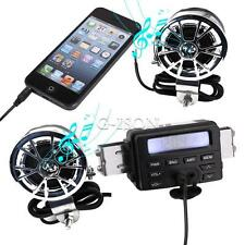 Audio FM Radio MP3 iPod Stereo 2 Speakers Sound System Motorcycle Bike ATV UTV.