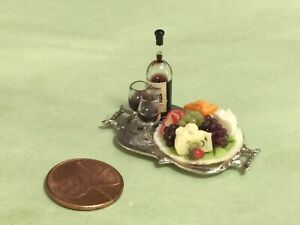 A Tray of Fruit, Cheese & Wine  - 1/12 scale