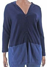 Top 2x Style&Co. $79.50 NWT Indigo Blue Color Blocked Hooded Retro MC118 BL