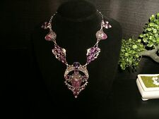 necklace dk. purple carved face silver plated Cleopatra cluster bib