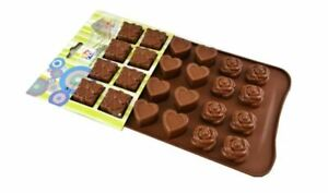 1 x Pralinenform Silikon Herz Rose braun  Schokolade Fontant  Muffin Backen 24 x