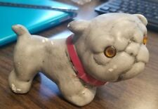 Vintage Ceramic  Bull Dog Boxer Pup  Figurine Novelty Glass Eyes Collar 1936?