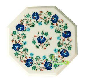 "12"" Marble Coffee Table Top Lapis Lazuli Inlay Mosaic Handmade Flower Home Decor"