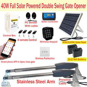 Full Solar Powered Double Swing Farm Gate Opener Automatic Motor 40W 17AH