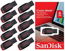 LOT OF 10 - 8GB SanDisk Cruzer Blade USB 2.0 FLASH DRIVE Memory Thumb Stick PACK