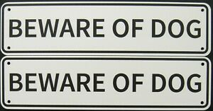Beware Of Dog Signs Double Layered Aluminum 12 X 3 / Set Of 2