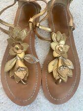 Coach Gold Leather Sierra T-Strap Sandals - Women's Size 8
