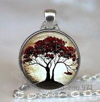 Vintage life tree Cabochon Tibetan silver Glass Chain Pendant Necklace