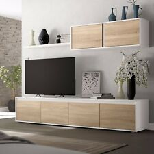 Mueble de comedor moderno salon completo, Blanco Artik y Roble Canadian, Alida