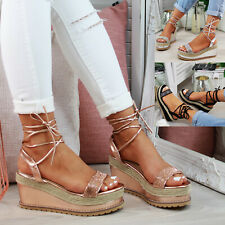 399c55290e43 New Womens Platform Sandals Espadrille Ankle Tie Up Comfy Summer Shoes  Sizes 3-8