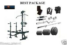 Gofit Home Gymset 100Kg Weight + 20 In 1 Bench+3 Ft Curl Rod+7 feet Plain Rod