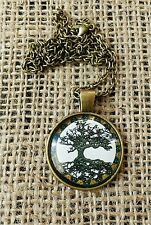 NEW Tree of Life Cabochon Glass Bronze Pendant & Chain