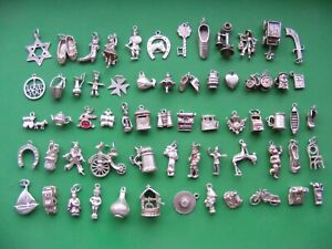 P) VINTAGE STERLING SILVER CHARMS CHARM GOLF BOOT CAT SWORD BIBLE BOAT SHOE LEEK