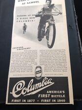 N1-6 Ephemera 1940 Advert Folded Columbia America's First Bicycle